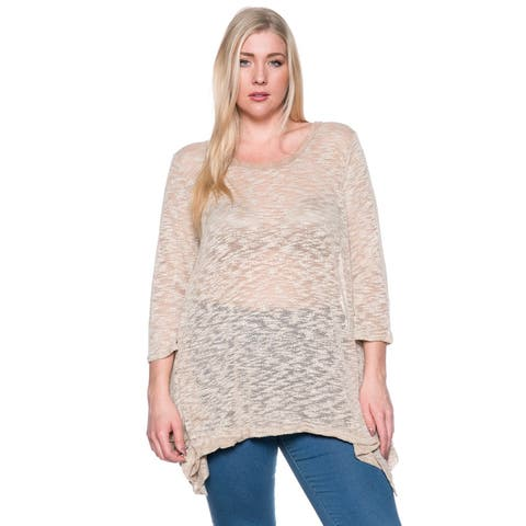 Women's Casual Crew Neck Knit Loose Fit Plus Size Top ha (XL,2XL,3XL)