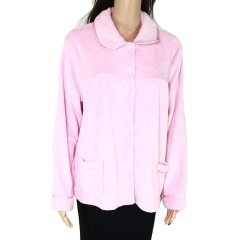 Jasmine Rose Womens Sleepwear Pink Size Large L Robe Jacket Button Down