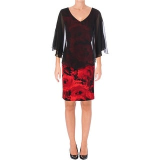 Connected Apparel Womens Cocktail Dress Sheath Floral Print