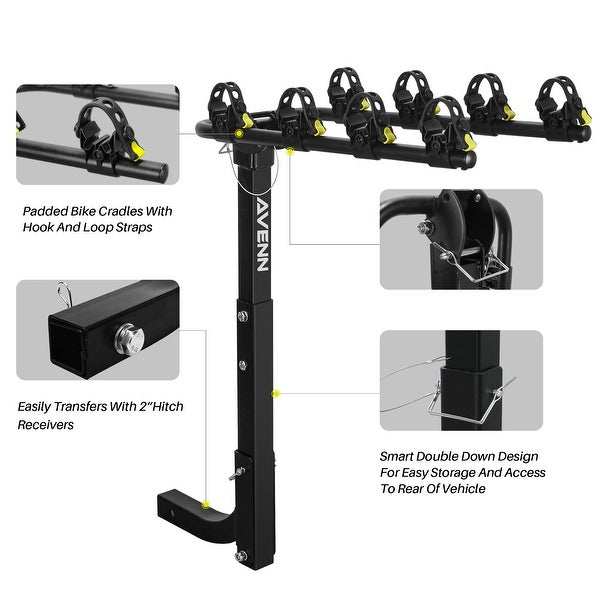 """2/"""" Hitch Mount Bicycle Rack Carrier Rear Mounted 4 Bike Rack Carrier Swing Down"""