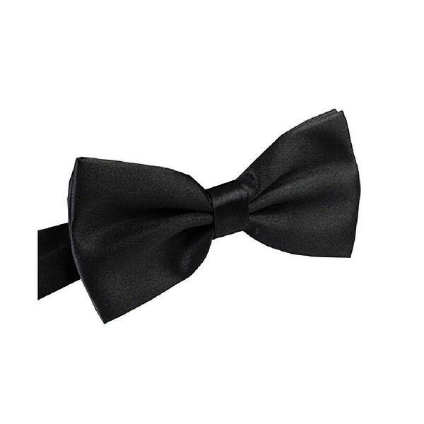 Mens Metallic Banded Pre-Tied Bow Tie and Handkerchief Set