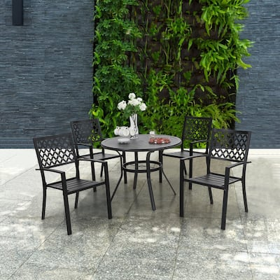 """MFSTUDIO 5 Piece Outdoor Metal Patio Dining Set, 4 Wrought Iron Chairs and 37.8"""" Round Table with 1.57"""" Umbrella Hole"""