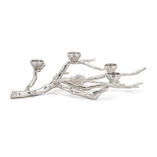 """23"""" Glossy Silver Color Decorative Frost Branch Tabletop Candleholder"""