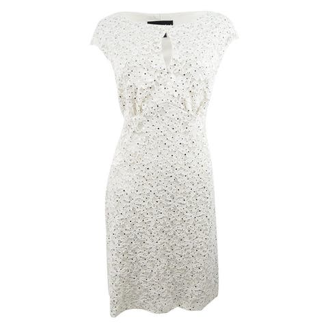 Connected Women's Sequined Lace Sheath Dress - Champagne/Gold