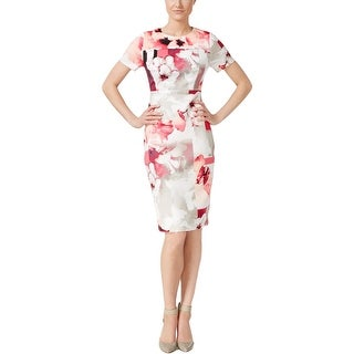 Calvin Klein Womens Scuba Dress Floral Print Sheath