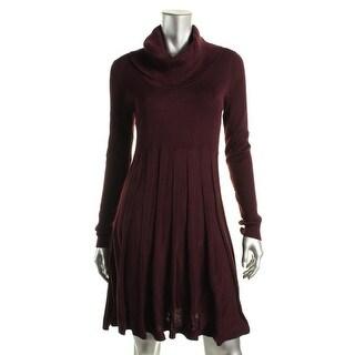 Calvin Klein Womens Cowl Neck Windowpane Knit Sweaterdress