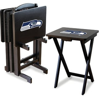 Official Licensed Seattle Seahawks NFL Football TV Snack Trays with Storage Racks (Set of 4)