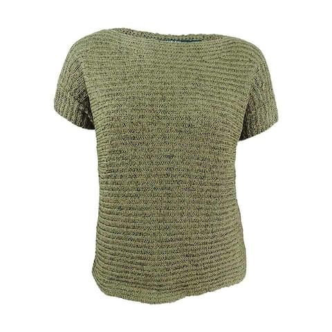 Lauren by Ralph Lauren Women's Plus Size Darbye Tape Crochet Sweater (1X, Sage) - Sage - 1X
