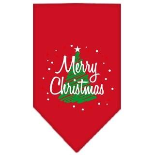 Scribble Merry Christmas Screen Print Bandana Red Large