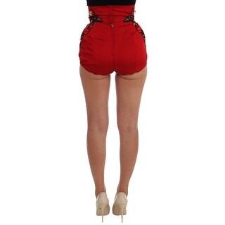 Dolce & Gabbana Red Silk Crystal Roses Shorts
