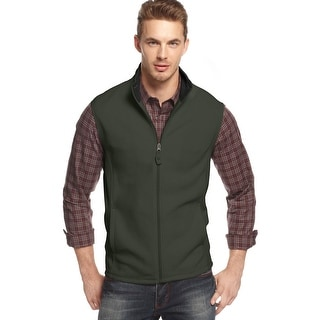 Club Room Full Zip Polar Fleece Mockneck Vest Signal Green Solid