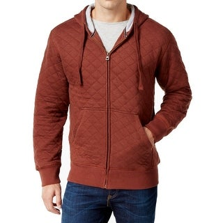 Weatherproof NEW Rum Red Mens Size XL Zip Up Quilted Hooded Sweater