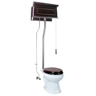 High Tank Toilets Dark Oak Raised Tank Elongated High Tank Toilet