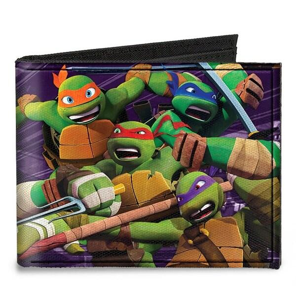 New Series Tmnt Battling Shredder & Ninjas Purples Canvas Bi Fold Wallet One Size - One Size Fits most