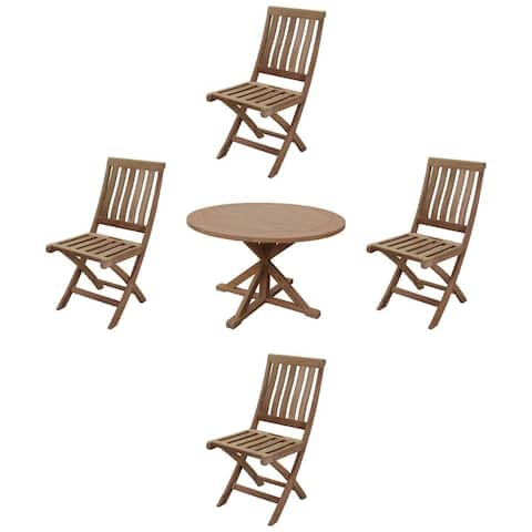 """Courtyard Casual Heritage Teak 5 Piece 48"""" Flag Leg Dining Table Set with 4 Folding Armless Chairs"""