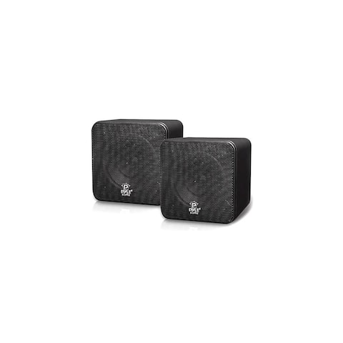 Pyle Audio T51291B Pyle Home PCB4BK 4- Inch 200-Watt Mini Cube Bookshelf Speaker-Black-Pair