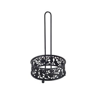 Kitchen Details Country Home Metal Paper Towel Holder, Black, 7.1x7.1x12.8 Inches