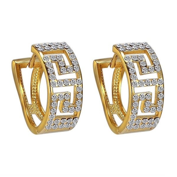 Greek Medusa Link Hoop Earrings Stainless Steel Gold Tone Lab Diamond 20mm