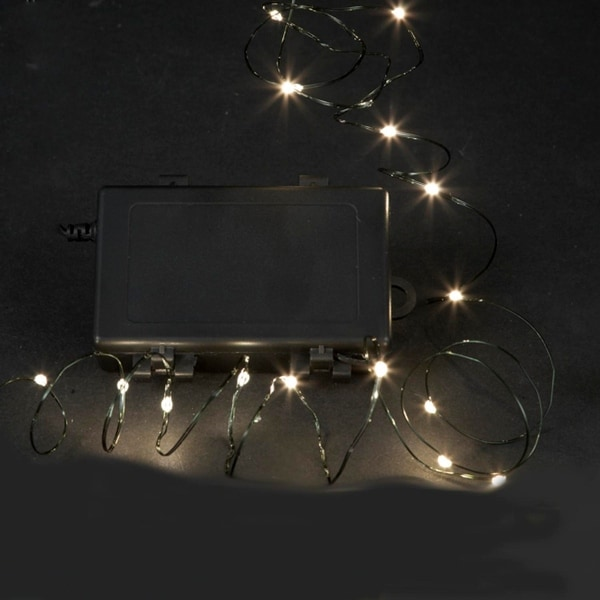 Set of 18 Battery Operated Clear LED Multi Function Ultra Slim Christmas Lights - Green Wire