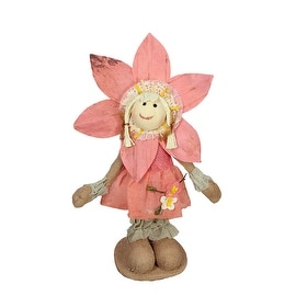 "14.5"" Peach and Tan Spring Floral Standing Sunflower Girl Decorative Figure"