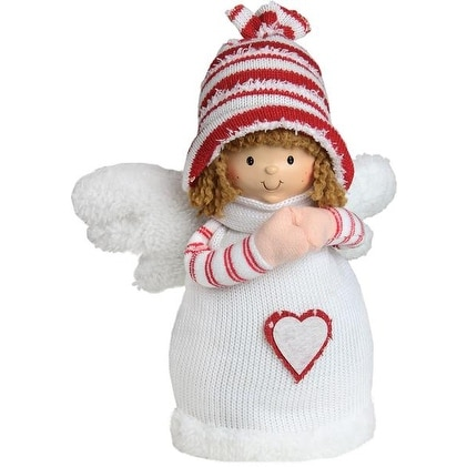 """9"""" White and Red Angel Boy with Heart Inspirational Christmas Tabletop Decoration"""