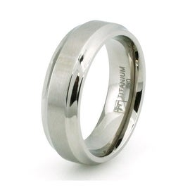 Classic Titanium Ring w/ Concave Edge & Brushed Center