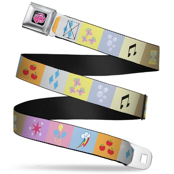 My Little Pony Logo Full Color Black Pink Mlp Cutie Mark Blocks Webbing Seatbelt Belt