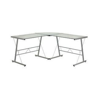 Offex Glass L-Shape Computer Desk with Silver Frame Finish