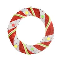 "18"" Pre-Lit Red and White Candy Cane Stripe Sisal Artificial Christmas Wreath - Clear Lights"