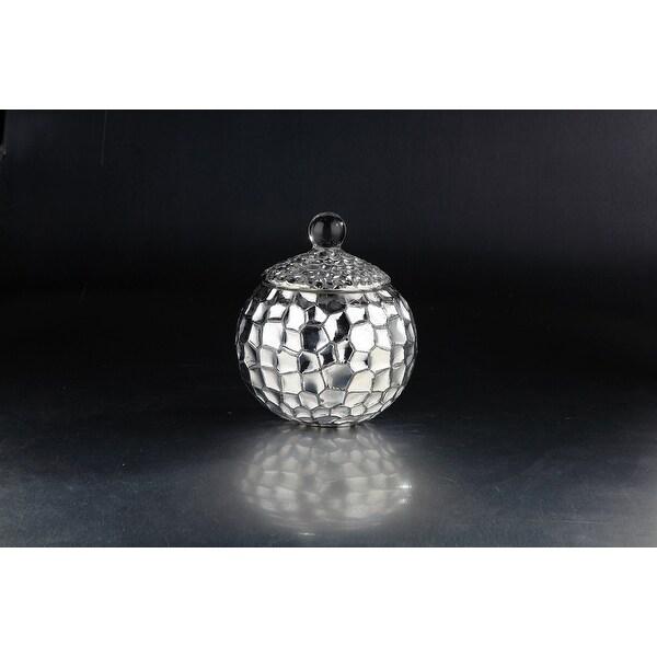 "8"" Metallic Silver Mosaic Handblown Glass Jar with Lid - N/A"