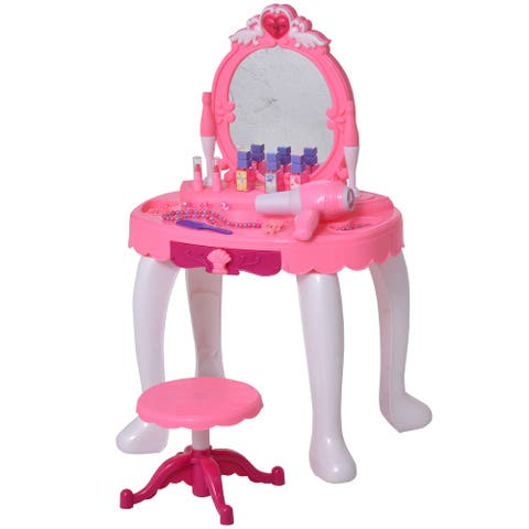 Qaba Children Dressing Table Set Girls, Pretend Princess Vanity Table with Music Lightening, Pink