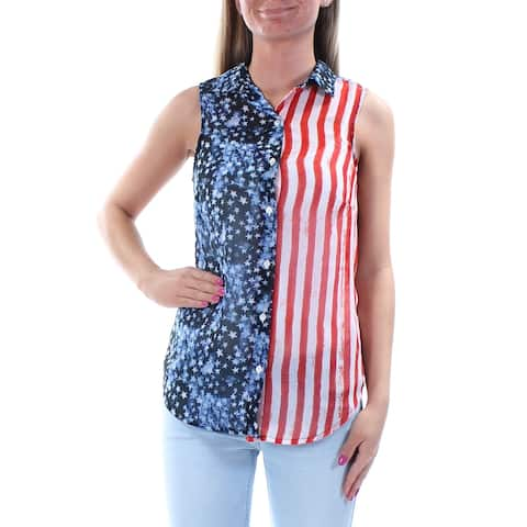 JESSICA SIMPSON Blue Sleeveless Button Up Top Size XS