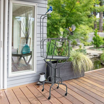 """PawHut Bird Perch with Wheels, Wooden Ladders, & Stainless Steel Feeding Cups - 24"""" L x 23.5"""" W x 67.75"""" H"""