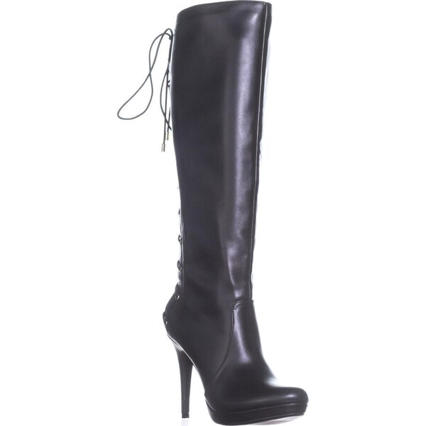 TS35 Lanee Wide Calf Lace Up Knee High Boots, Black