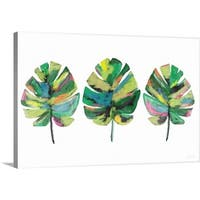 Linda Woods Premium Thick-Wrap Canvas entitled Three Tropical Leaves - Multi-color