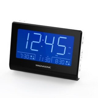 Magnasonic Alarm Clock Radio with Battery Backup, Dual Alarm, Dimming, Daylight Savings Time, Large LED Display, AM/FM