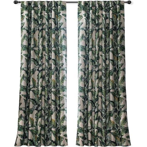 "DriftAway Tropical Leaves Botanical Pattern Back Tabs Lined Window Curtains - 52"" width x 84 "" length - 52"" width x 84 "" length"