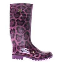 Dolce & Gabbana Purple Leopard Rubber Rain Boots Shoes Stivali - 41