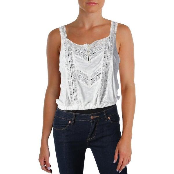 Denim & Supply Ralph Lauren Womens Jersey Top Slub Lace Front