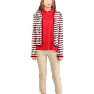 Moncler Women's Wool Mohair Blend Tweed Cardigan Red