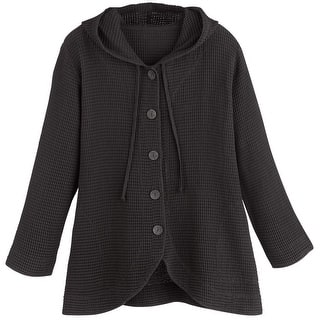 Women's Tunic Jacket - Hooded Button-Front Waffle Sweater|https://ak1.ostkcdn.com/images/products/is/images/direct/53d78b63d75757957fc63493f4b6f6573b29b150/Women%27s-Tunic-Jacket---Hooded-Button-Front-Waffle-Sweater.jpg?impolicy=medium