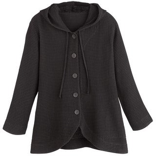 Women's Tunic Jacket - Hooded Button-Front Waffle Sweater