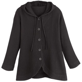 Women's Tunic Jacket - Hooded Button-Front Waffle Sweater - Free ...