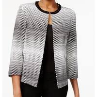 Tahari By ASL NEW Black Womens Size 2 Beaded-Neck Jacquard Jacket