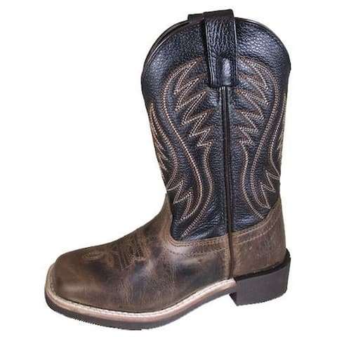 Smoky Mountain Western Boots Boys Travis Leather Square Toe Brown