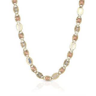 Mcs Jewelry Inc 10 KARAT THREE TONE, YELLOW GOLD WHITE GOLD ROSE GOLD NECKLACE 3mm - Multi