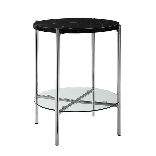 """Delacora WE-BDF20SRDST Dawson 20"""" Long Marble Top Glass, Laminate, and Metal Accent Table"""