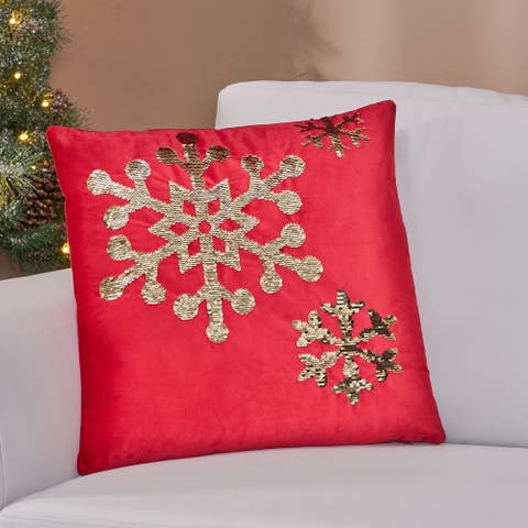 Bayou Glam Velvet Christmas Throw Pillow Cover by Christopher Knight Home