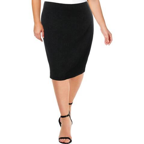 Amanda + Chelsea Womens Straight Skirt Comfort Waist Pleated - Black - XL
