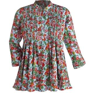 Women's Tunic Top - Floral Print 100% Cotton Button Front Blouse